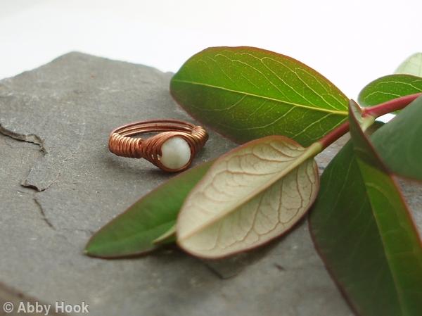 Vortex Wrapped Ring - Milky Jasper - Sale - 25 percent discount