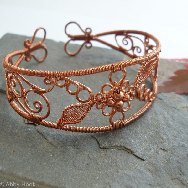 Lace - Filigree Inspired cuff - Copper