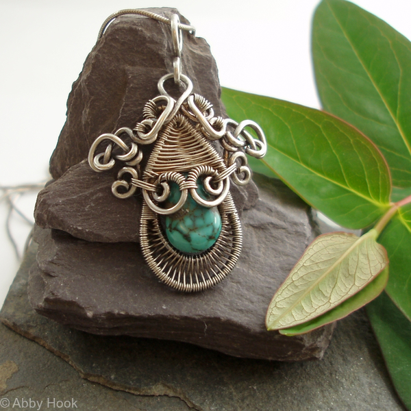 Gorgon Layered Woven Pendant - Silver and Turquoise