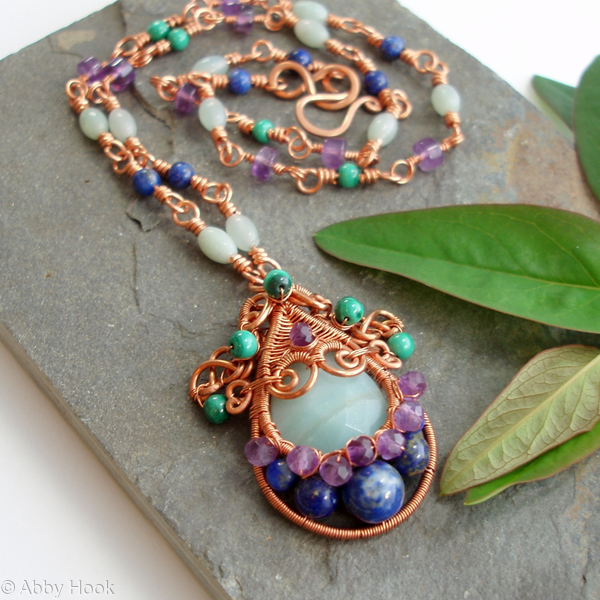 Gorgon Layered Woven Pendant with handmade Copper necklace