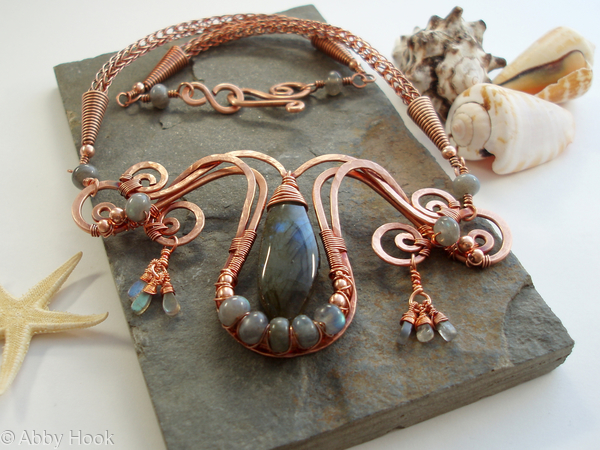 Mermaids Tear Drop Necklace - Copper and Labradorite