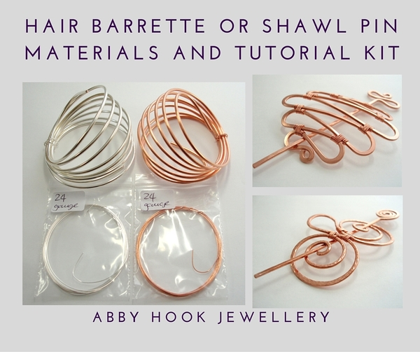 Hair Barrette or Shawl pin Materials and tutorial Kit