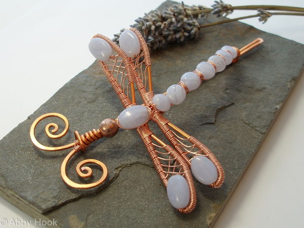 Dragonfly Hair Barrette or Shawl pin - Large - Copper and Blue Lace Agate