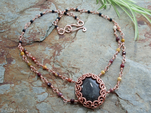 Eclipse Necklace - copper and Silver Obsidan