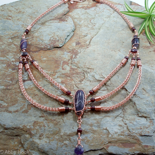 The Viking Queen Necklace - Amethyst, Garnet and copper