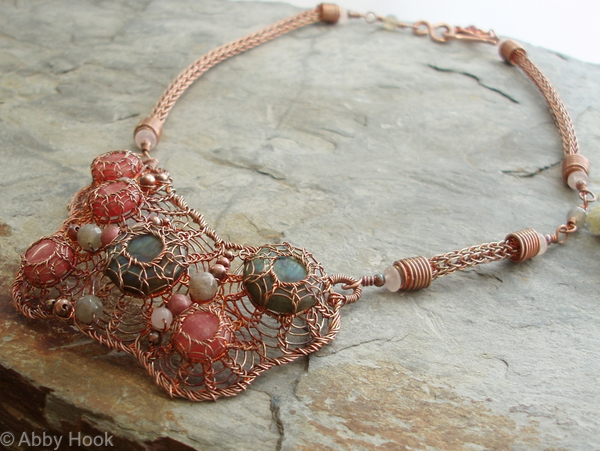 Patella Rustica Necklace - Labradorite, Rhodonite and copper