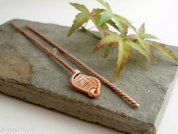 Woven Leaf copper Hair sticks