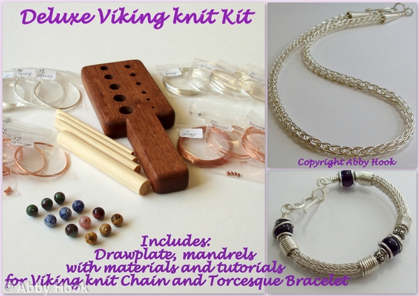 Deluxe Viking Knit Kit - includes Drawplate, mandrels and materials and tutorials for Viking knit Chain and Torcesque Bracelet