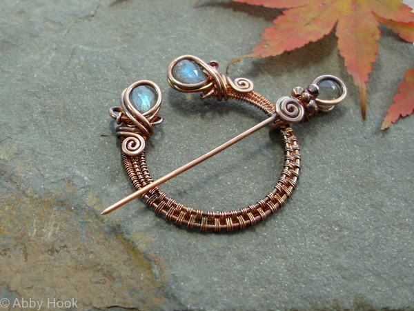 Penannular Brooch - Woven Copper and Labradorite