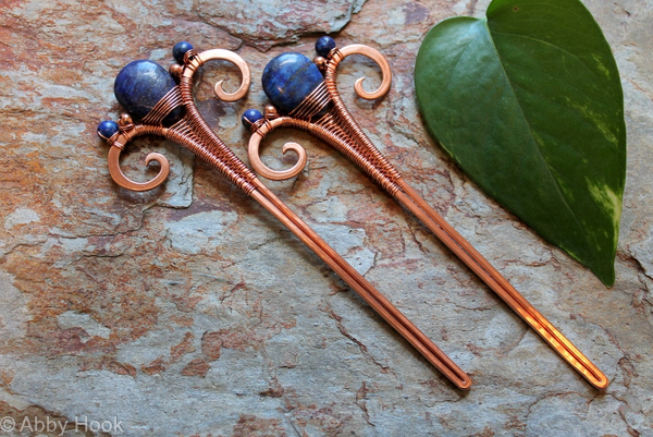 Hair Sticks - Copper and Lapis Lazuli - one pair