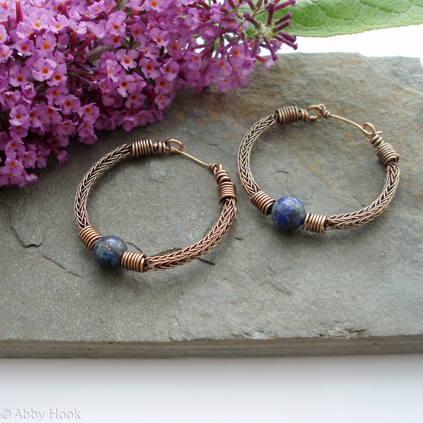 Torcesque Viking knit Hoop earrings - Bronze with Lapis Lazuli