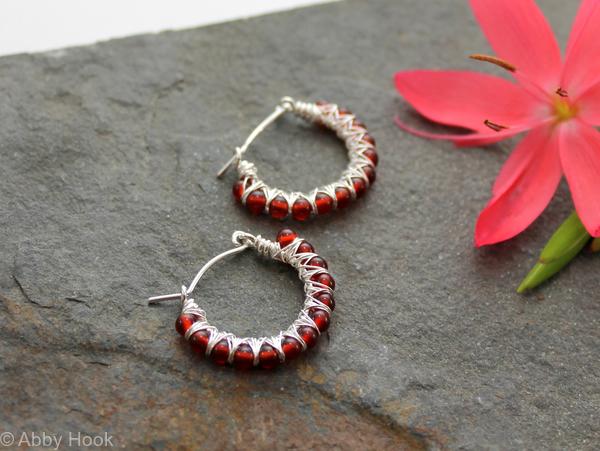 Kiss Kross Hoop Earrings - Red Agate and Sterling silver