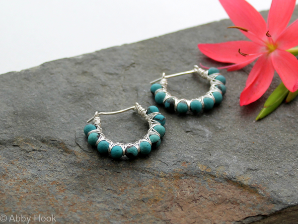 Kiss Kross Hoop Earrings - Turquoise and Sterling silver