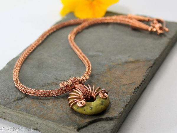 Alkebulan - Copper Viking knit chain with Yellow Turquoise wire wrapped donut