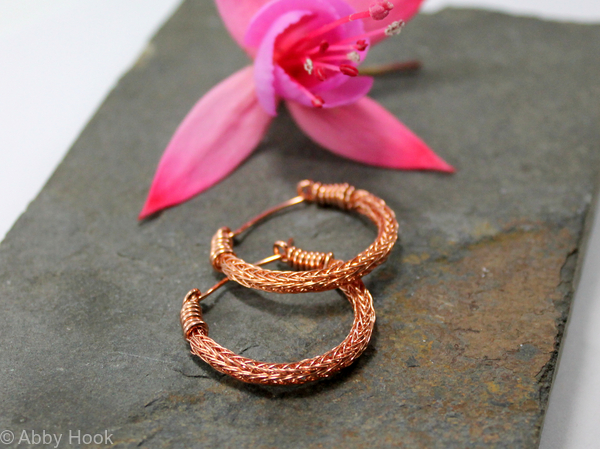 Viking knit Hoop earrings - Copper wire hoop earrings