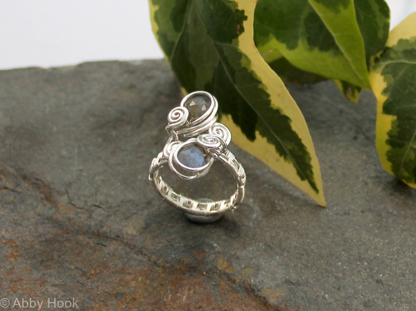 Reserved for Jimbo Double Stone Ring - Woven shiny Sterling silver wire and Labradorite