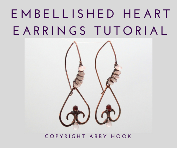 Embellished Heart Earrings, Wire Jewelry Tutorial