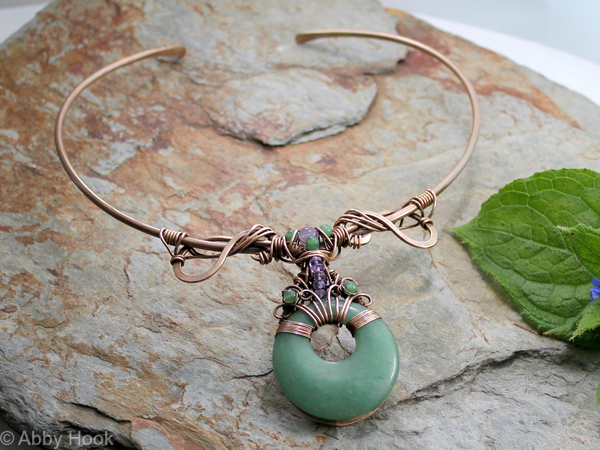Ananda - Bliss - Neck Torc - Bronze, Green Aventurine and Amethyst, Celtic Torq or Torque