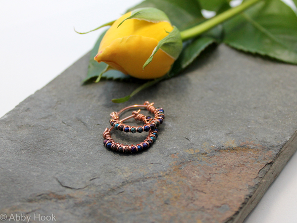 Kiss Kross Hoop Earrings - Copper wire and Titanium coated Spinal - small