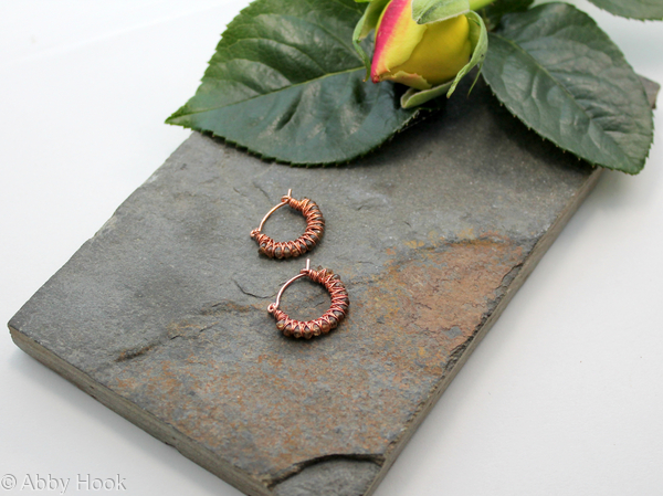Kiss Kross Hoop Earrings - Copper wire and faceted Grossular Garnet - small