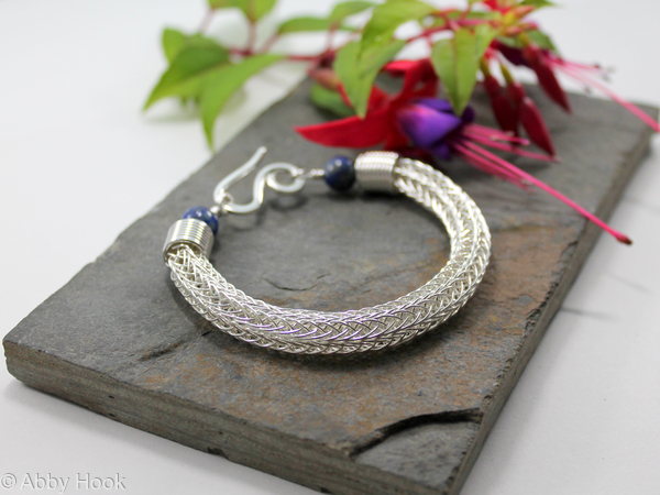 Viking knit bracelet - Double knit Sterling silver wire and Lapis Lazuli