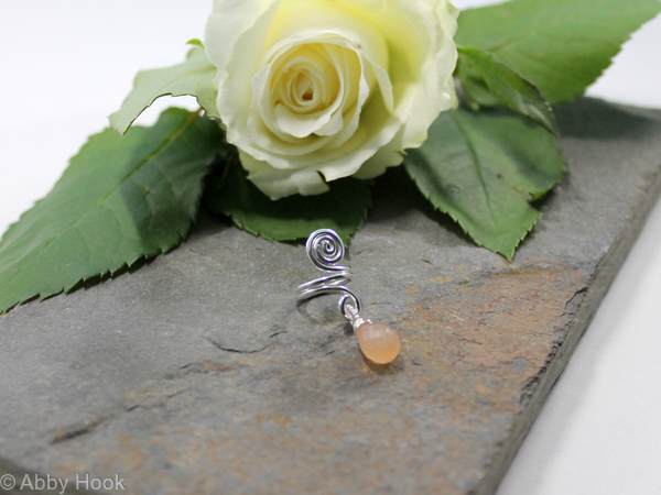 Spiral with Peach Moonstone dangle Beard, Dreadlock or braid ring or bead - Shiny Sterling silver - Medium