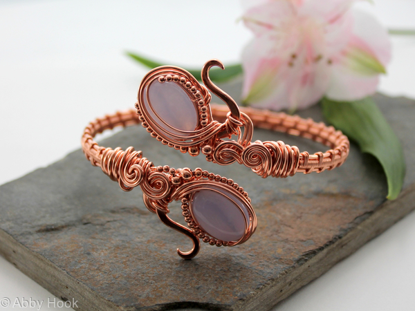 Ornate Armlet, woven copper wire and Blue Lace Agate , Arm bracelet, Cuff