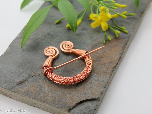 Penannular Brooch - Viking knit with Spirals - Copper - Fibula brooch