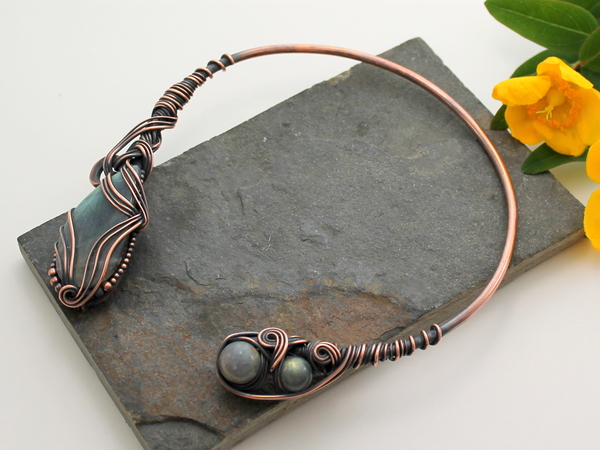 Neck Torc - Copper and Labradorite, Celtic Torq Or Torque - Ananda - Bliss