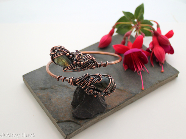 Armlet - Copper and Labradorite, Celtic upper arm cuff, arm bracelet - Ananda - Bliss