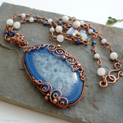Poseidon - Under the Sea Necklace - Agate slice