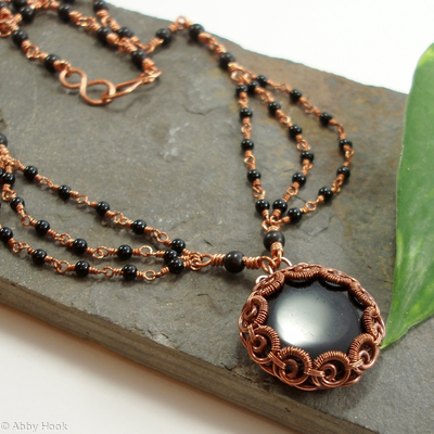 Eclipse - Scalloped Edge Bezel Necklace Black Agate and Onyx