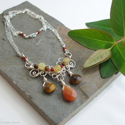 Fern Frond Necklace - Aventurine and Tigers eye