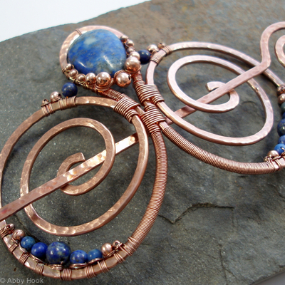 Embellished Double Spiral Hair Barrette - Copper and Lapis Lazuli
