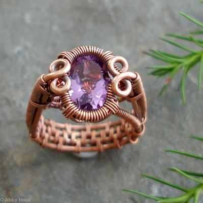 Spiral Bezel Amethyst Ring