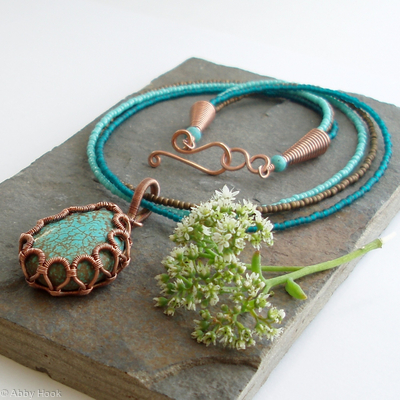 Ribbon Scroll Bezel necklace - Turquoise and copper