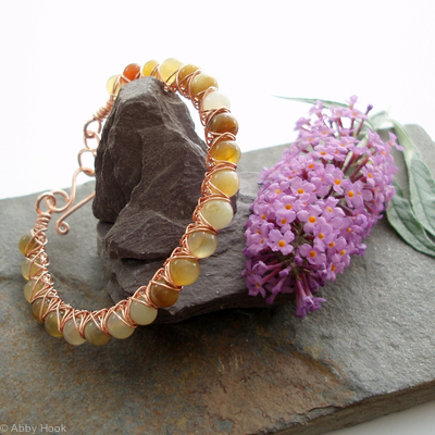 Kiss Kross Bracelet - Tri coloured Jade and copper