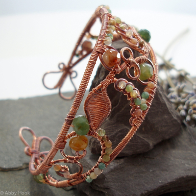 Lace - Filigree Inspired cuff - Copper and Fancy Jasper