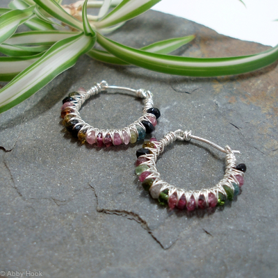 Kiss Kross Hoop Earrings - Tourmaline