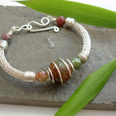 Torcesque - Fancy Jasper and Silver bracelet