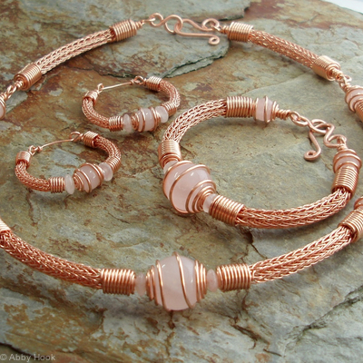 Torcesque collection - Rose Quartz and copper