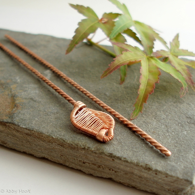 Woven Leaf copper Hair sticks