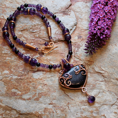 Celtic inspired Triskelion Necklace - Bronze with Blue Goldstone and Amethyst