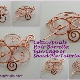 Celtic Spirals Barrette, bun cage or Shawl pin tutorial