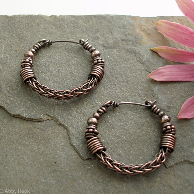 Viking knit Hoop earrings - Copper with beads