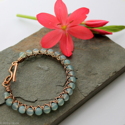 Kiss Kross Bracelet - Bronze and Blue Chalcedony