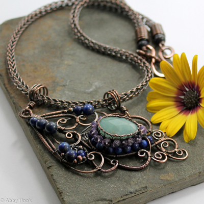 Peacock feather Necklace - Amethyst, Amazonite, Lapis Lazuli and Copper