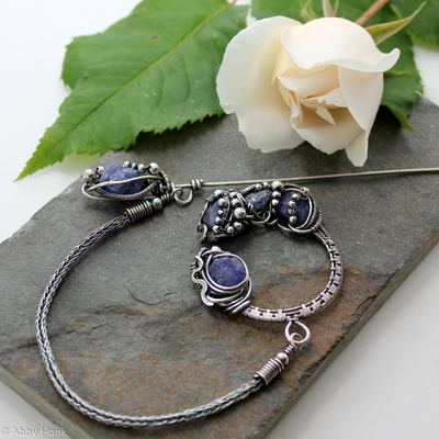 Celtic Brooch - Sterling Silver and Tanzanite