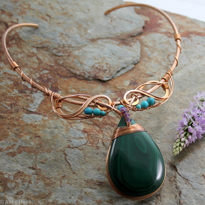 Celtic Neck Torc - Bronze, Malachite, Amethyst and Turquoise, Celtic Torq or Torque