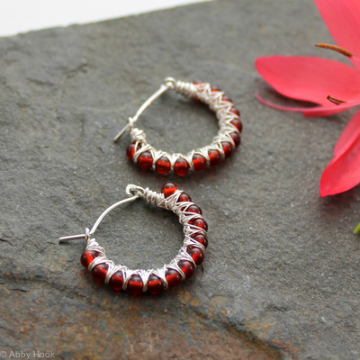 Kiss Kross Hoop Earrings - Red Agate and Sterling silver